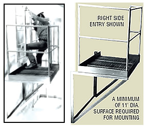 17 Steel Access Ladder With 42 Boarding Rail And Cage